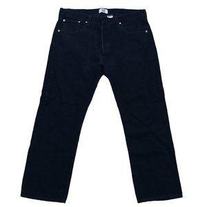 euc LEVI 501 straight leg button black jeans 38-30